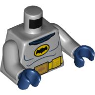 LEGO part 973c14h05pr5592 Torso Batman Logo in Yellow Oval with Yellow Utility Belt and Gold Buckle Print (60's Batman), Light Bluish Gray Arms, Dark Blue Hands in Medium Stone Grey/ Light Bluish Gray
