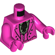 LEGO part 973c36h36pr5593 Torso Suit Jacket with Vest, Sand Green Shirt with Collar and Big Black Tie Print (60's Joker), Dark Pink Arms and Hands in Bright Purple/ Dark Pink