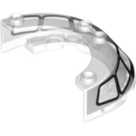 LEGO part 76796pr0001 Windscreen 4 x 6 x 1 Round with Black Frame print in Transparent/ Trans-Clear