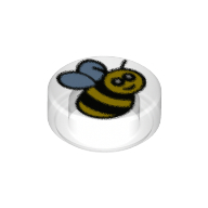 LEGO part 98138pr0207 Tile Round 1 x 1 with Bee print in Transparent/ Trans-Clear