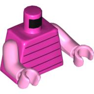 LEGO part 973c43h43pr5570 Torso Dark Purple Stripes, Bright Pinks Arms and Hands (Piglet) in Bright Purple/ Dark Pink