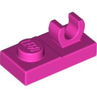 LEGO part 92280 Plate Special 1 x 2 [Top Clip] in Bright Purple/ Dark Pink