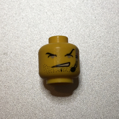 LEGO Yellow Alpha Team Dash Minifigure Head with Closed Eyes /& Headset