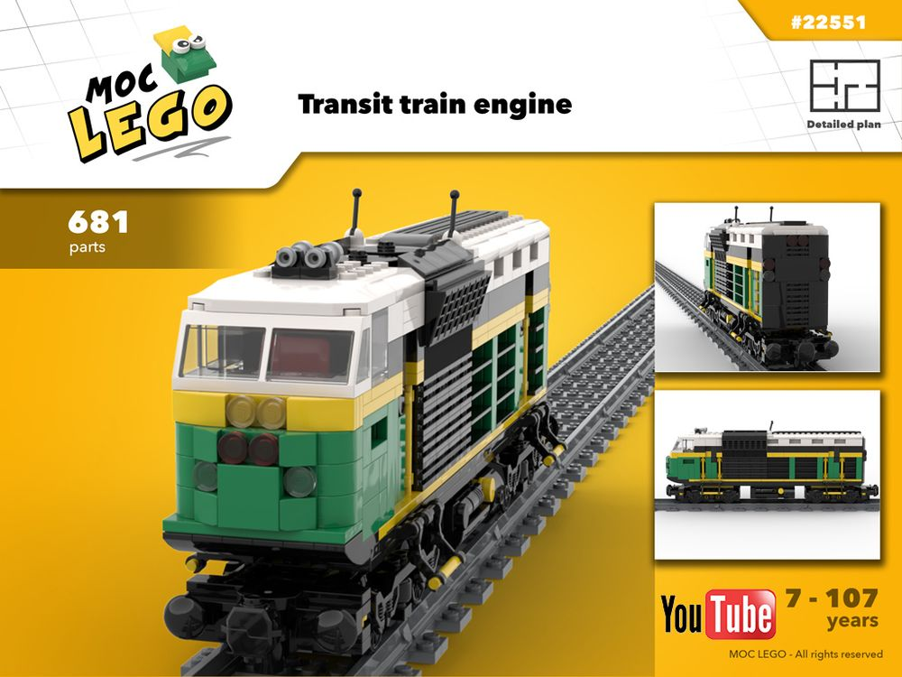 LEGO MOC-22551 Train engine for transit (Town > City