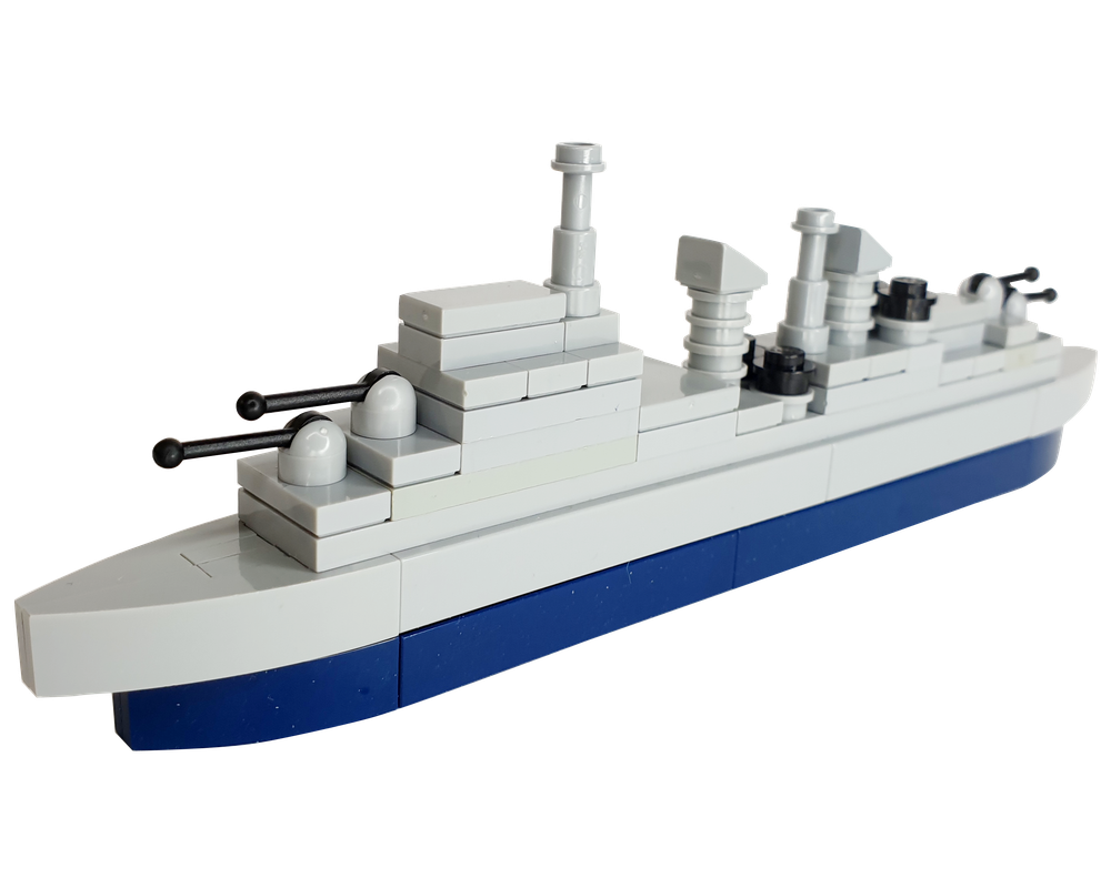 Lego Moc Hms Belfast Microscale Town Class Light Cruiser Warship By Tribalnobody Rebrickable Build With Lego