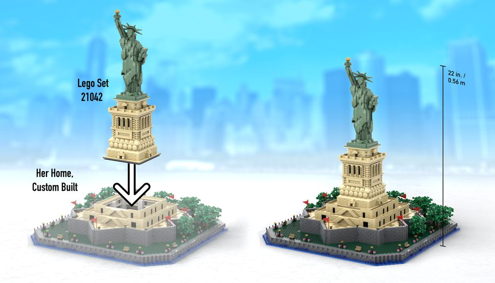 Lego Moc Statue Of Liberty Base Add On By Adambetts Rebrickable Build With Lego
