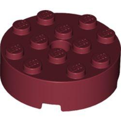 LEGO part 87081 Brick Round 4 x 4 [Centre Hole] in Dark Red