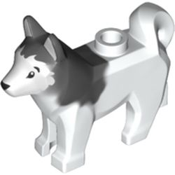 Lego New White Dog Husky with Black Eyes Black Nose and Marbled Animal Pet