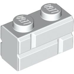 LEGO part 98283 Brick Special 1 x 2 with Masonry Brick Profile in White
