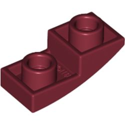 LEGO part 24201 Slope Curved 2 x 1 Inverted in Dark Red