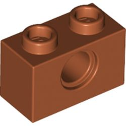 LEGO part 3700 Technic Brick 1 x 2 [1 Hole] in Dark Orange