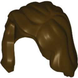 LEGO part  Minifig Hair Mid-Length with Part over Front of Right Shoulder in Dark Brown
