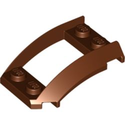 LEGO part 47755 Wheel Arch, Wedge 4 x 3 Open with Cutout and Four Studs in Reddish Brown