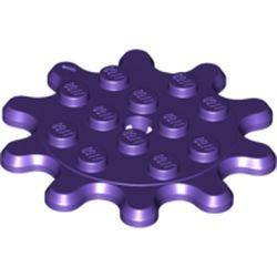 LEGO part 35443 Plate Special 4 x 4 Gear with 10 Teeth in Medium Lilac/ Dark Purple