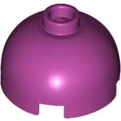 LEGO part 30367 Brick Round 2 x 2 Dome Top - Hollow Stud with Bottom Axle Holder x Shape + Orientation in Bright Reddish Violet/ Magenta