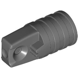 LEGO part 53923 Hinge Cylinder 1 x 2 Locking with 1 Finger and Axle Hole On Ends [No Side Slots] in Dark Stone Grey / Dark Bluish Gray