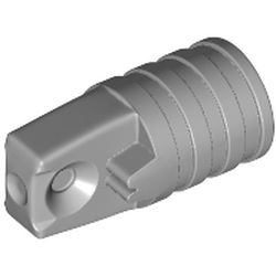LEGO part 53923 Hinge Cylinder 1 x 2 Locking with 1 Finger and Axle Hole On Ends [No Side Slots] in Medium Stone Grey/ Light Bluish Gray