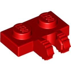 LEGO part  Hinge Plate 1 x 2 Locking with 2 Fingers on Side, 7 Teeth in Bright Red/ Red