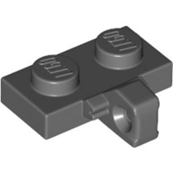 LEGO part  Hinge Plate 1 x 2 Locking with 1 Finger on Side, without Groove in Dark Stone Grey / Dark Bluish Gray