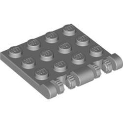 LEGO part 50337 Hinge Plate 3 x 4 Locking Dual 2 Finger, 7 teeth in Medium Stone Grey/ Light Bluish Gray