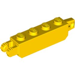 LEGO part 54661 Hinge Brick 1 x 4 Locking with 1 Finger Vertical End and 2 Fingers Vertical End with 7 Teeth in Bright Yellow/ Yellow