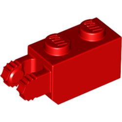 LEGO part 54671 Hinge Brick 1 x 2 Locking with 2 Fingers Vertical End, 7 teeth in Bright Red/ Red