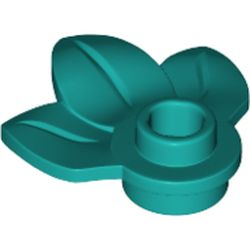 LEGO part 32607 Plant, Plate 1 x 1 Round with 3 Leaves in Bright Bluish Green/ Dark Turquoise