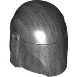 LEGO part 87610 Minifig Helmet Mandalorian with Holes [Plain] in Titanium Metallic/ Pearl Dark Gray