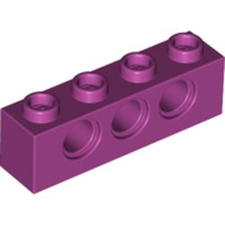 LEGO part 3701 Technic Brick 1 x 4 [3 Holes] in Bright Reddish Violet/ Magenta