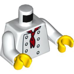 LEGO part  Torso Chef with 8 Buttons and Long Red Neckerchief / Neckerchief on Back Print, White Arms, Yellow Hands in White