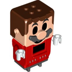 LEGO part 49242 Mario with 4 Top Studs and LCD Screens for Eyes and Chest in Bright Red/ Red
