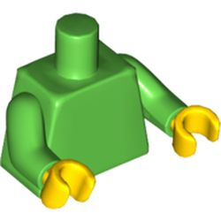 LEGO part 973c06h01 Torso, Bright Green Arms, Yellow Hands [Plain] in Bright Green