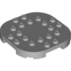LEGO part 66789 Plate Round Corners 6 x 6 x 2/3 Circle with Reduced Knobs in Medium Stone Grey/ Light Bluish Gray
