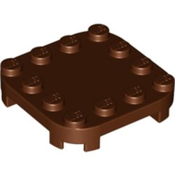 LEGO part 66792 Plate Round Corners 4 x 4 x 2/3 Circle with Reduced Knobs in Reddish Brown