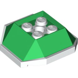 LEGO part 67013 Brick Wedge Sloped 4 x 4 with Green Slopes Pattern (Koopa Troopa Shell) in White