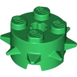 LEGO part 27266 Brick Round 2 x 2 Special with Spikes in Dark Green/ Green