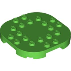 LEGO part 66789 Plate Round Corners 6 x 6 x 2/3 Circle with Reduced Knobs in Bright Green