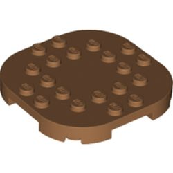 LEGO part 66789 Plate Round Corners 6 x 6 x 2/3 Circle with Reduced Knobs in Medium Nougat