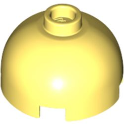 LEGO part 30367 Brick Round 2 x 2 Dome Top - Blocked Open Stud with Bottom Axle Holder x Shape + Orientation in Cool Yellow/ Bright Light Yellow