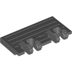 LEGO part 52526 Hinge Train Gate 2 x 4 Locking Dual 2 Fingers with 7 Teeth in Dark Stone Grey / Dark Bluish Gray