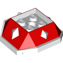 LEGO part 67931 Brick Wedge Sloped 4 x 4 with Diamond Spikes with Red Slopes Print (Spiny Shell) in White