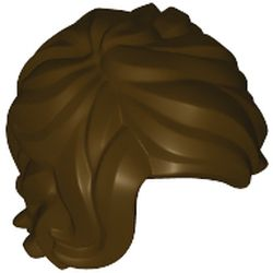 LEGO part 25409 Minifig Hair Tousled Mid-Length with Side Part in Dark Brown