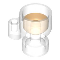 LEGO part  Equipment Stein/Cup with Trans-Orange Drink Pattern in Transparent/ Trans-Clear