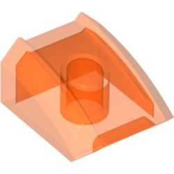 LEGO part 28659 Slope Curved 2 x 2 with Lip, No Studs in Transparent Fluorescent Reddish Orange/ Trans-Neon Orange
