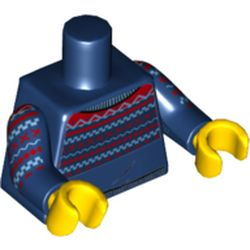 LEGO part  Torso Red/Medium Blue Knitted Sweater Print, Dark Blue Arms, Yellow Hands in Earth Blue/ Dark Blue