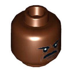 LEGO part 68673 Minifig Head Greef Karga, Moustache, Angry Print in Reddish Brown