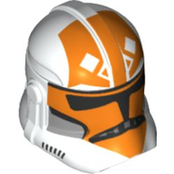 LEGO part 68675 Minifig Helmet SW Clone Trooper with Orange Decorations (332nd Company) in White