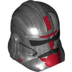 LEGO part 11217pr0317 Minifig Helmet SW Clone Trooper with Black Visor and Dark Red Markings Print in Titanium Metallic/ Pearl Dark Gray