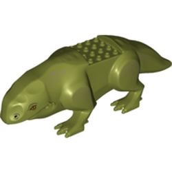 LEGO part 68756 Creature Body Part, Dewback Body, Claws and Short Tail, with Large Eyes Print in Olive Green