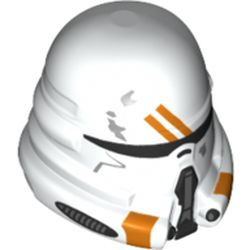 LEGO part 68742 Minifig Helmet Airborne Clone Trooper with Orange Details Print in White